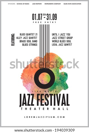 Jazz music, poster background template. Vector design. - stock vector