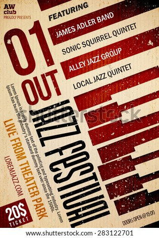 Jazz music poster template. 20 / -70 deg. rotation. Texture effects can be turned off. - stock vector