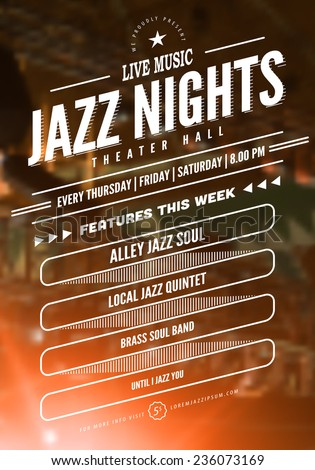 Jazz music poster template. Text instructions included in hidden layer. Vector blurred concert stage background.  - stock vector