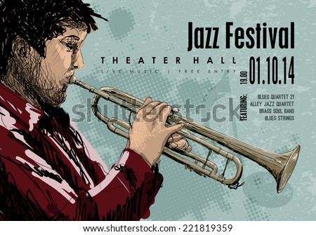 Jazz music, vector poster background template. Illustration of a man playing trumpet. - stock vector