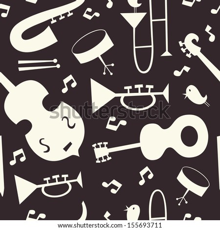 Jazz musical instruments seamless pattern. Black and white. - stock vector