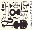 Jazz musical instruments vector set - stock vector