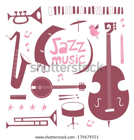 Jazz musical instruments vector set. Vintage style cartoon illustration - stock vector