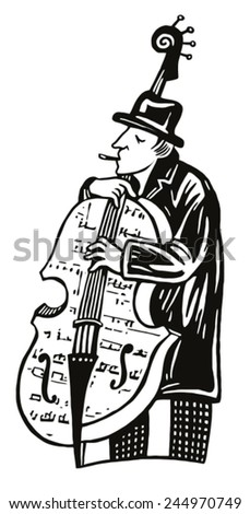 Jazz musician playing the contrabass. black-and-white illustration - stock vector