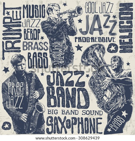 jazz musicians and wind instruments set, hand drawn characters, words and design elements. vector illustration.