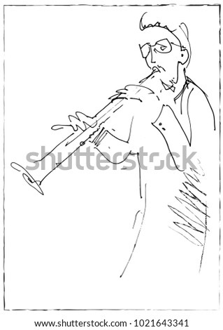 Jazz musicians playing music. Clarinet player sketch.