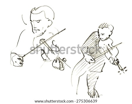 Jazz musicians playing music. Hand drawn pencil illustration of the emotional violinist players.   - stock vector