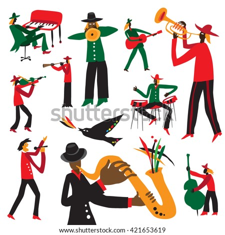 jazz musicians - vector cartoons set 2