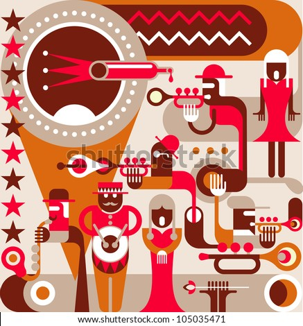Jazz Orchestra - vector illustration, poster. A singing woman and a jazz band, 50s-60s years of the 20th century. - stock vector