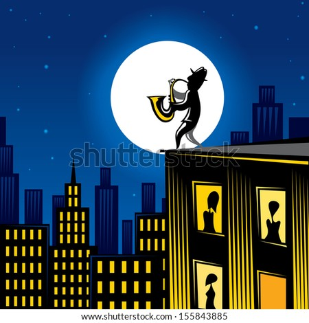 Jazz player on the building, city music (Vector) - stock vector