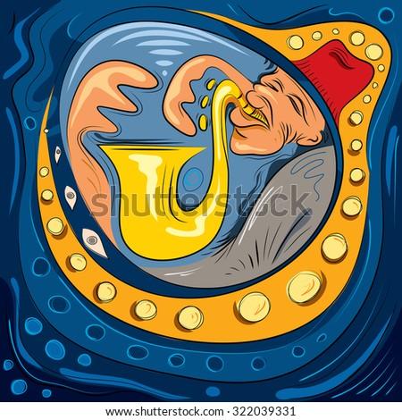 Jazz Player, Saxophone Art Illustration (Vector Art) - stock vector