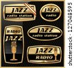 Jazz radio labels - stock vector