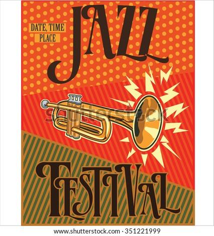Jazz retro vintage background - stock vector