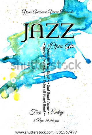 Jazz, rock or blues music poster template. Abstract watercolor background for card, flyer, leaflet, brochure, banner, web design. - stock vector