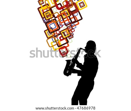 Jazz saxophonist theme. Vector illustration for design use. - stock vector