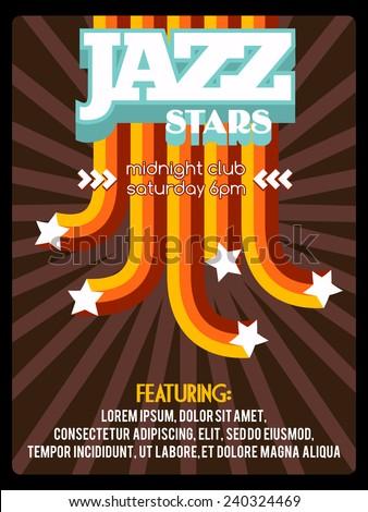Jazz stars. Retro music festival poster template. Vector illustration. - stock vector