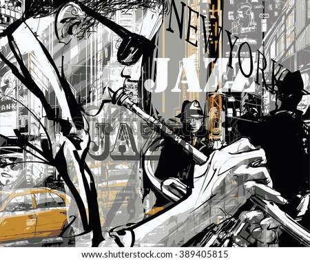Jazz trumpet player in a street of New york - Vector illustration - stock vector