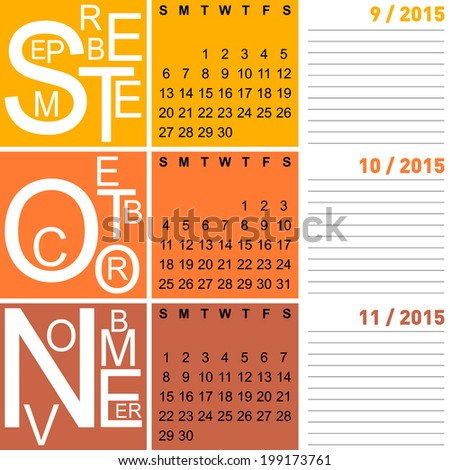 jazzy seasonal calendar autumn 2015 including september, october, november, vector, eps10
