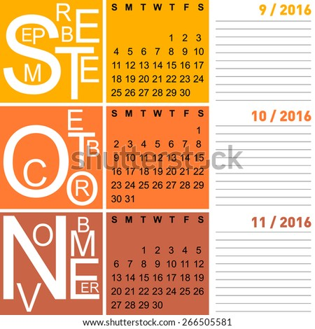 jazzy seasonal calendar autumn 2016 including september, october, november, vector, eps10