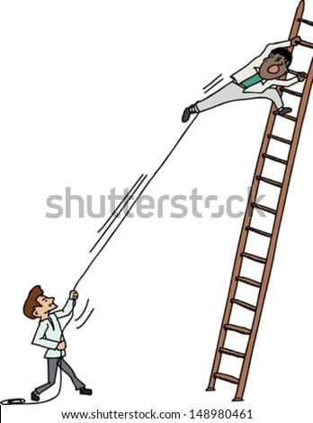 Jealous man pulling another man climbing up a ladder - stock vector