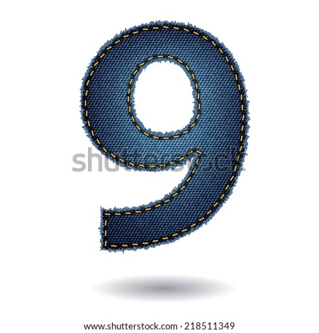 Jeans alphabet letters number 9, Vector illustration modern template design - stock vector