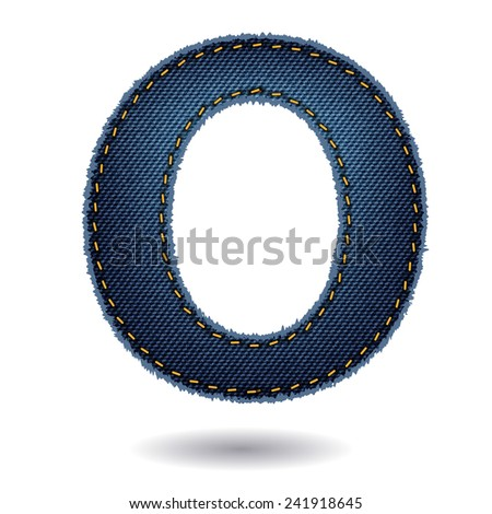 Jeans alphabet ( O ) isolated on white background, Vector illustration template design - stock vector