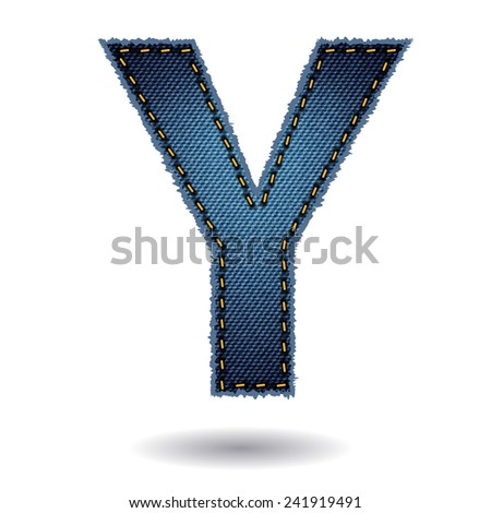 Jeans alphabet ( Y ) isolated on white background, Vector illustration template design