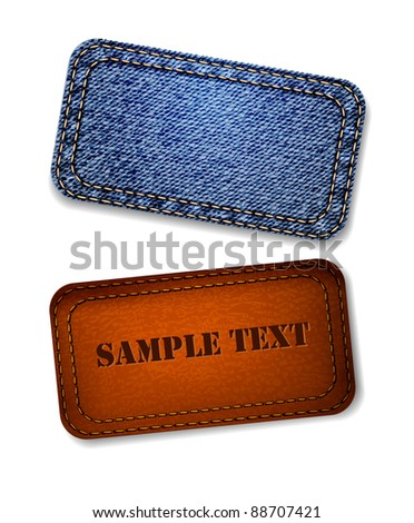 Jeans and leather label. Vector. - stock vector