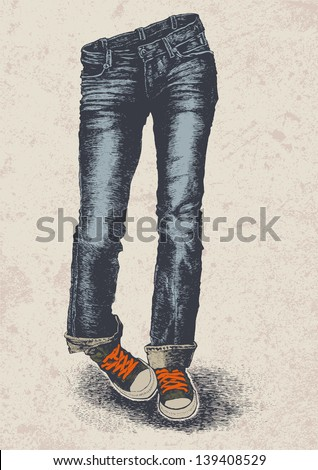 jeans and sneakers and grunge scratched background. vector illustration. - stock vector