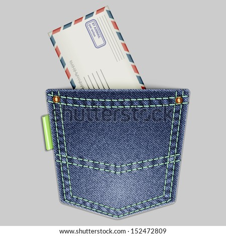 Jeans back pocket with an envelope on a gray background. Vector illustration. - stock vector