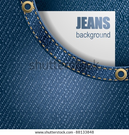 Jeans background. Paper with space for your text peeking out of pocket . Detailed vector illustration. - stock vector