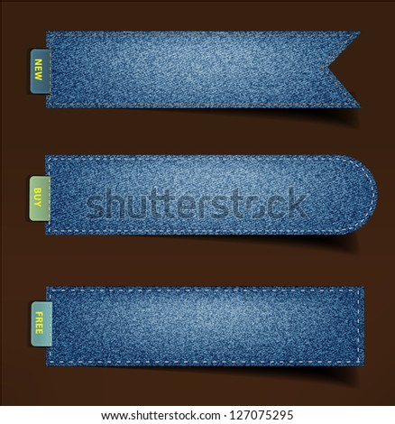 Jeans background, stickers, labels, tags. Vector template design - stock vector