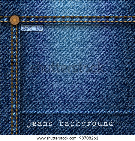 Jeans background. Vector realistic texture - stock vector