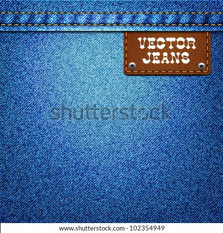 Jeans background with a leather label - stock vector