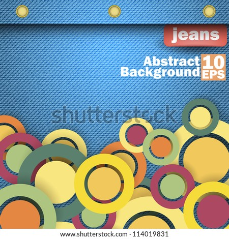 Jeans background with bubble. Vector - stock vector