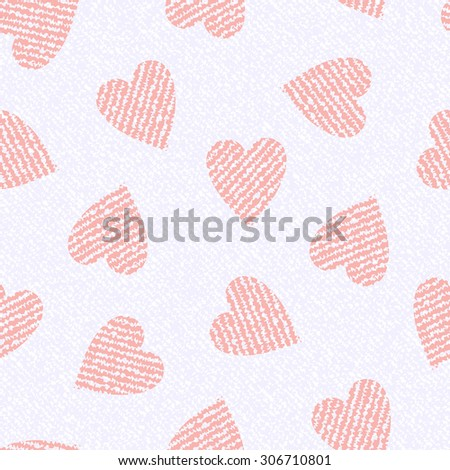 Jeans background with hearts. Vector Denim seamless pattern. White jeans cloth. Valentine's Day wallpaper.