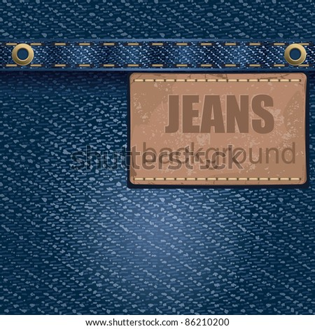 Jeans background with leather label. Detailed vector illustration. - stock vector