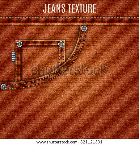 jeans brown texture with pocket denim background. stock vector illustration eps10 - stock vector