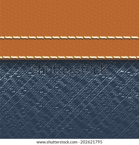 Jeans fabric and leather background - vector illustration - stock vector