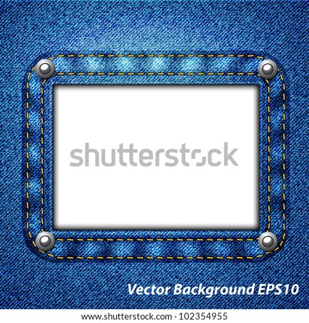 Jeans frame on a white background - stock vector