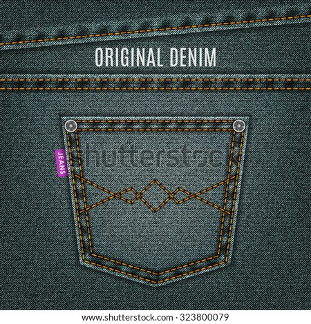 jeans gray texture with pocket denim background. stock vector illustration eps10 - stock vector