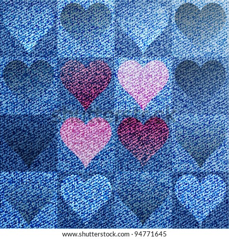 Jeans heart background - stock vector