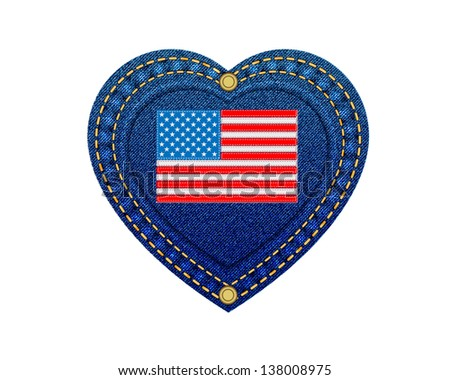 Jeans heart leather label flag of USA denim background.Vector - stock vector