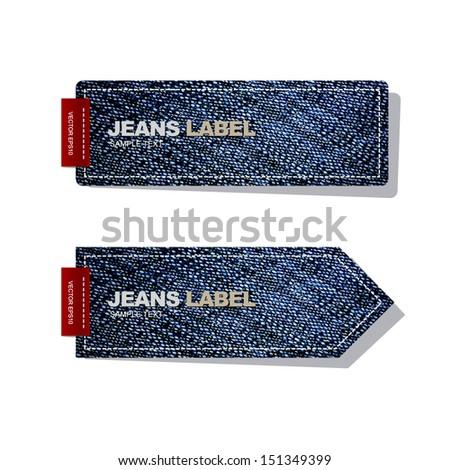 Jeans label on white background - Vector illustration - stock vector