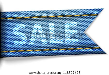 Jeans label with the word sale for shopping. Vector illustration - stock vector