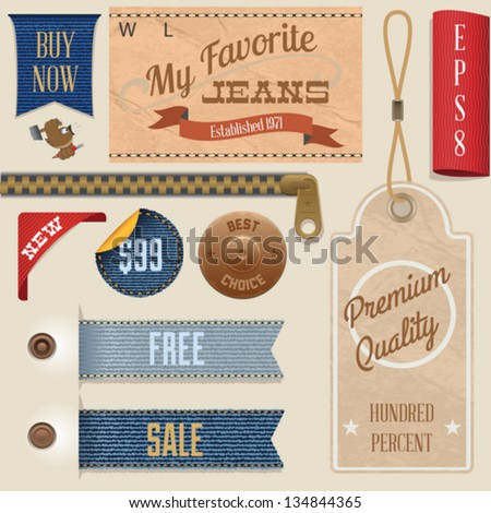 Jeans Labels Set - stock vector
