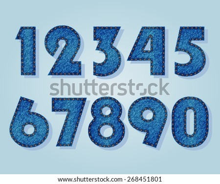 Jeans numbers - stock vector
