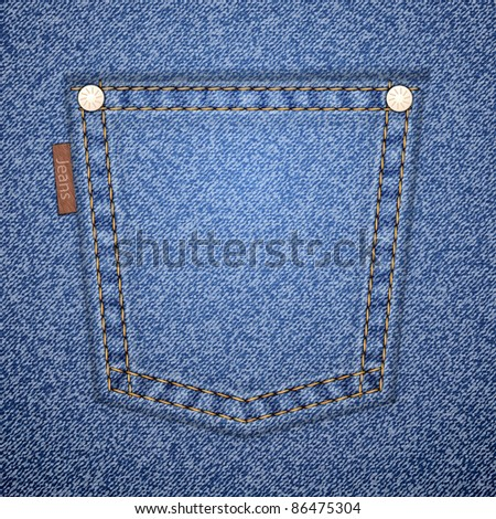 Jeans pocket on denim pattern. Vector illustration. It is easy to move the pocket. - stock vector