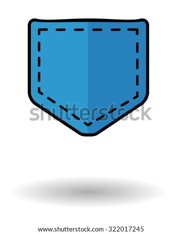 Jeans pocket vector icon with shadow. Blue pocket icon isolated over white background - stock vector