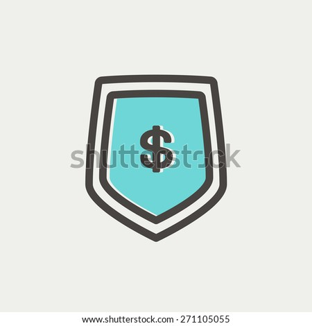 Jeans pocket with dollar symbol icon thin line for web and mobile, modern minimalistic flat design. Vector icon with dark grey outline and offset colour on light grey background. - stock vector